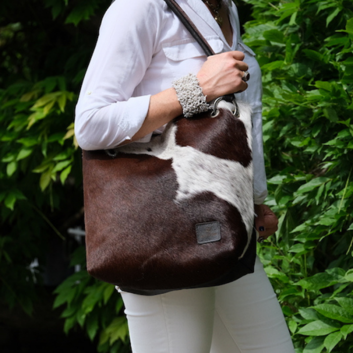 Zulucow Sustainable, cowhide, Nguni, artisan, handmade, leather slouch bag
