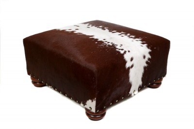 cowhide ottoman, cowhide furniture, cowhide footstool, interiors, custom made bespoke cowhide furniture