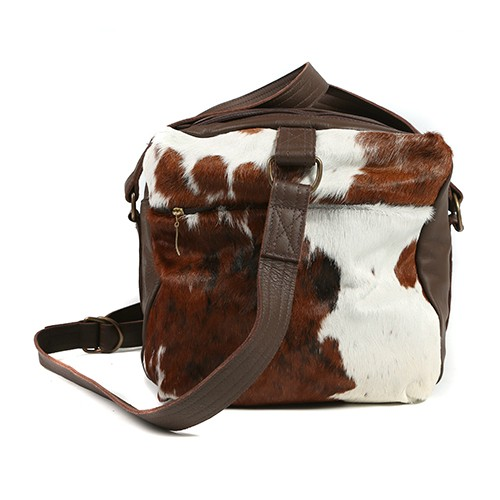 Zulucow cowhide leather weekend bag tricolour brown black white end