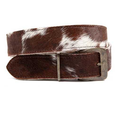 Zulucow Nguni cowhide leather belt brown and white belt buckle cowhide accessories womenswear fashion