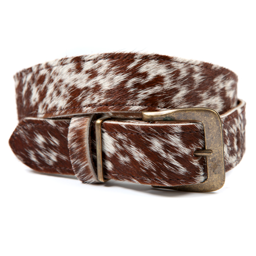 Zulucow Nguni cowhide belt brown white belt buckle cowhide accessories womenswear fashion