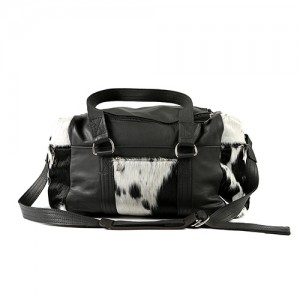 Zulucow Nguni cowhide leather weekend bag black and white travel travel bag accessories holdall luggage