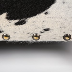 Zulucow Nguni cowhide ottoman white and black studs