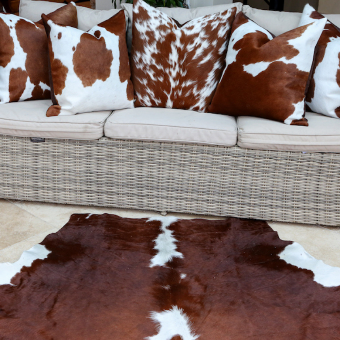 Zulucow Nguni cowhide brown and white cushion, scatter cushions home accessories soft furnishings interiors home, sustainable, ethical, handmade