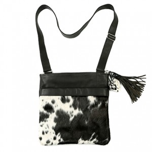 Zulucow Nguni cowhide cross body messenger bag black and white bag cross body cowhide leather accessories womenswear