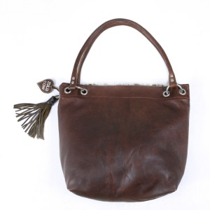 Zulucow cowhide leather slouch shoulder bag brown & white fashion accessories bags womenswear