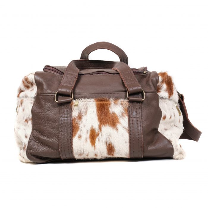cowhide weekend bag, travel bag, holdall, leather bag, ethical, sustainable, artisanmade, slow fashion