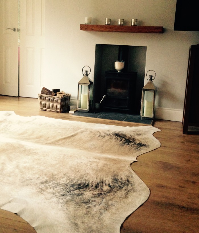 cream, beige, champagne cowhide rug, luxury interiors, home accessories, interiors, rugs