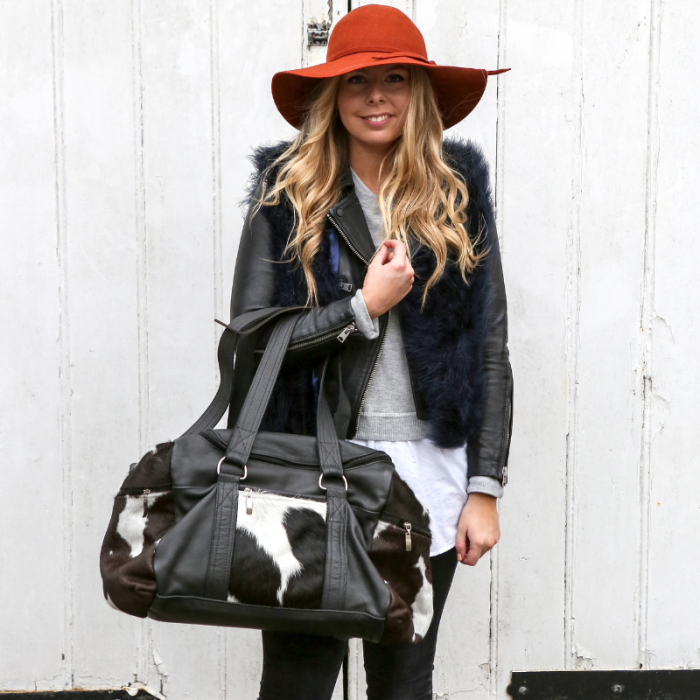 Zulucow cowhide weekend bag, travel bag, holdall, leather bag, ethical, sustainable, artisan made, slow fashion