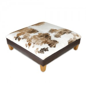 Nguni cowhide ottoman, footstool, cowhide furniture, handmade, interiors, home decor, cowhide furniture leather brown white tricolour bespoke furniture, ottomans.