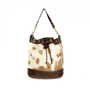 bags-leather-bucket-bags- tricolour-cowhide-bags-brown and white, camel, leather bags, fashion accessories, women's accessories