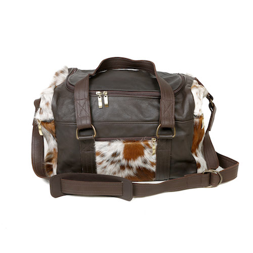 cowhide weekend bag, travel bag, cowhide leather bag, holdall, womens accessories