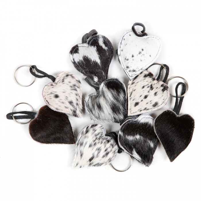 cowhide heart key-rings Valentine's day gifts