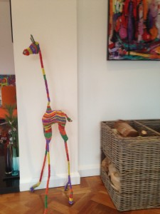 gorgeous colourful beaded giraffes, cowhide cushions, zulucow cowhide, beaded art, gifts, childrens' gifts