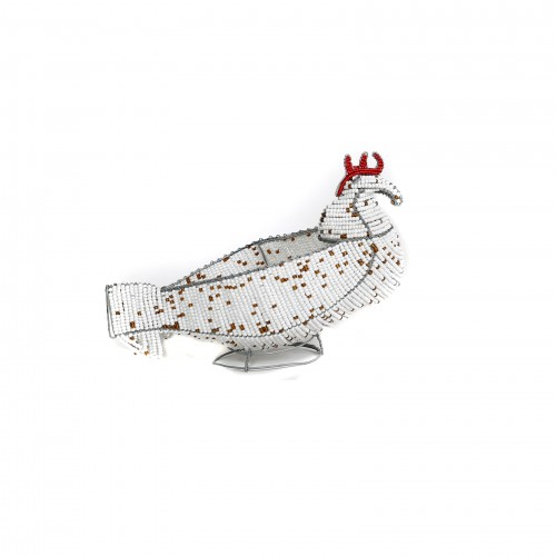 Gorgeous beaded chicken basket, beaded sculptures, beaded art, gifts, childrens' gifts
