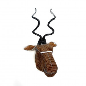 Brown white and black Kudu head African beaded antelope trophy head wall hanging, animal head, wall sculpture
