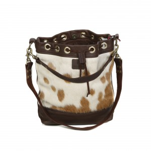 bags-leather-bucket-bags-cowhide-bags-black and white, leather bags, fashion accessories, women's accessories