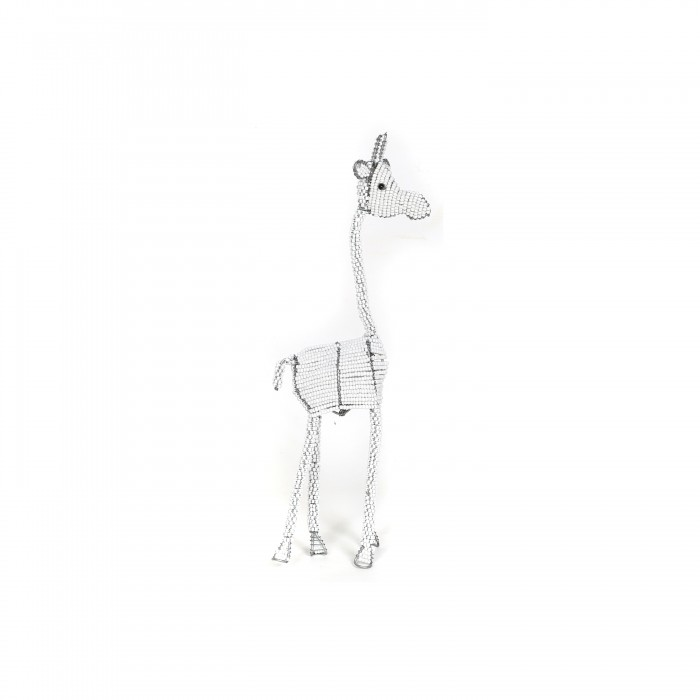 gorgeous white beaded giraffes, beaded sculptures, beaded art, gifts, childrens' gifts