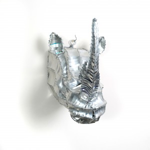 Silver, African tin metal rhino trophy head wall hanging animal head wall sculpture