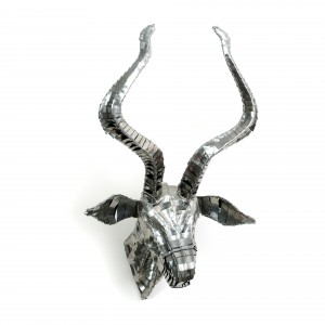 Silver, African tin metal kudu antelope trophy head wall hanging animal head wall sculpture