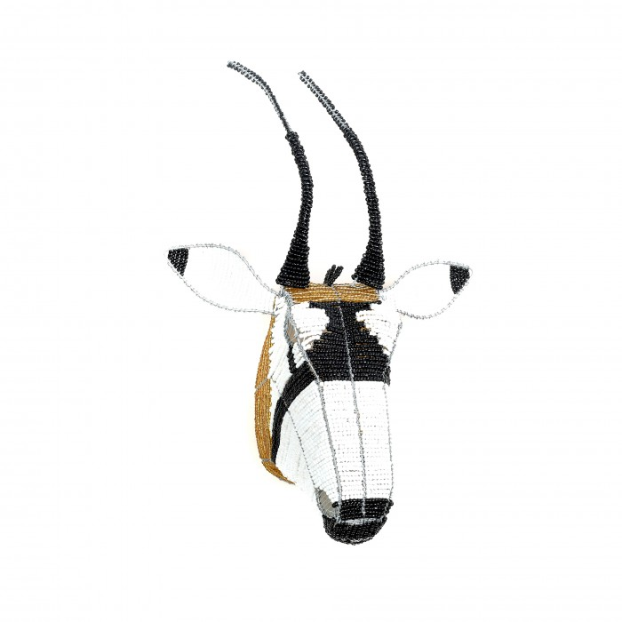Black, white and gold African beaded Oryx antelope trophy head wall hanging, animal head