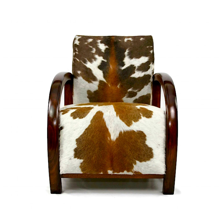 Cowhide Furniture, Cowhide Armchair, Cowhide Chair, Art Deco Chair, Antique  Cowhide Chair