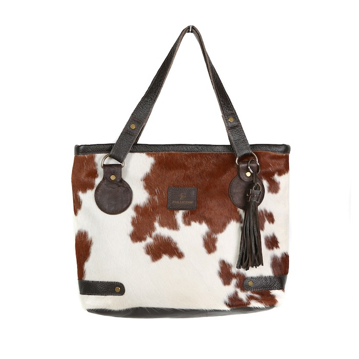 cowhide bag leather handbag tote bag brown & white fashion accessories bags womenswear