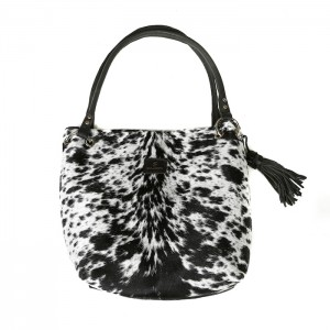 Zulucow Nguni cowhide leather slouch shoulder bag black and white bag leather cowhide accessories fashion womenswear animal print