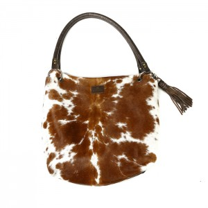 Zulucow Nguni cowhide leather slouch shoulder bag brown and white bag leather cowhide accessories fashion womenswear animal print