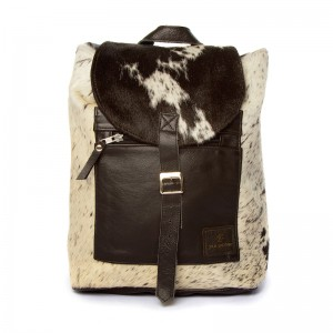 cowhide backpack, leather bag, cowhide bag, brown & white, fashion, accessories, bags womenswear