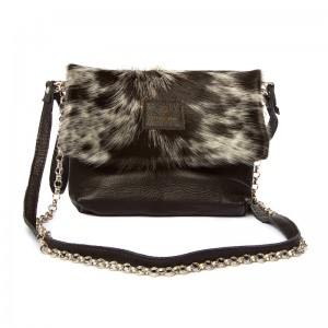 cowhide bag, leather handbag, clutch, clutchbag, brown & white, cowhide accessories, evening bag, fashion accessories