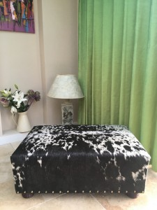 cowhide ottoman, cowhide footstool, bespoke furniture, Nguni, interiors, custom made bespoke cowhide furniture, luxury interiors, interior design