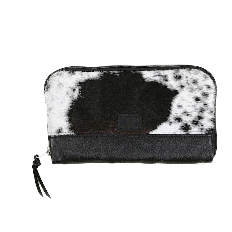 cowhide, travel wallet, leather bag, clutch bag, black & white, cowhide accessories, evening bag, fashion accessories