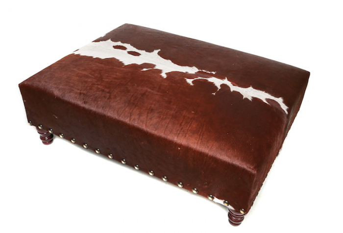 Sustainable, bespoke, cowhide ottoman, cowhide furniture, cowhide footstool, Nguni, interiors, custom made bespoke cowhide furniture, luxury interiors, interior design