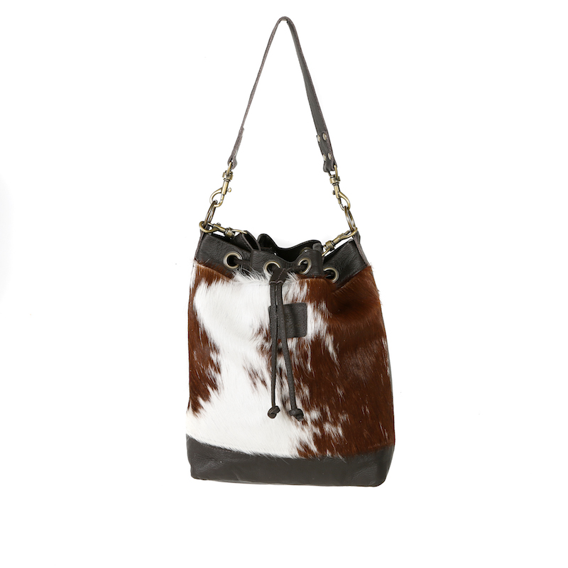 bags-leather-bucket-bags-cowhide-bags-brown and white, leather bags, fashion accessories, women's accessories