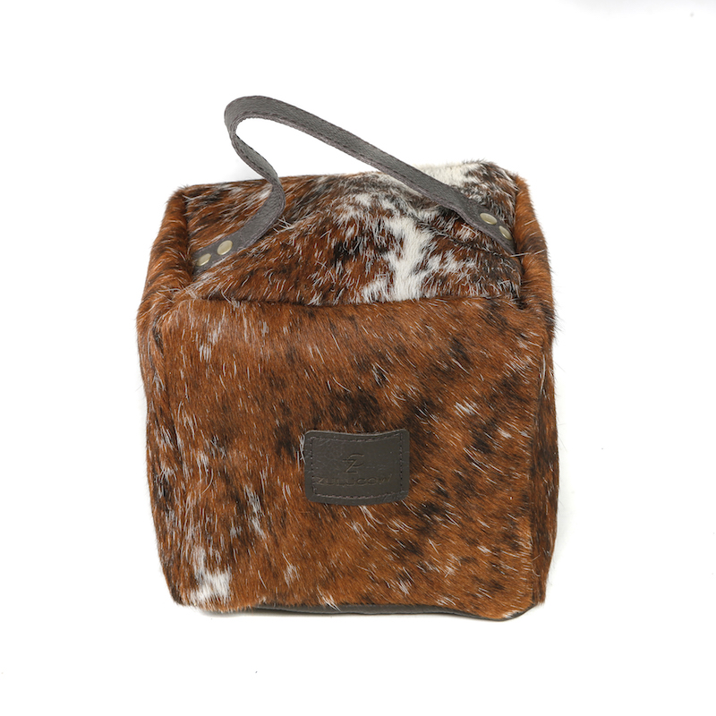 Zulucow Nguni ethically and sustainably sourced cowhide door stop, brown and white tricolour doorstop, interiors, home accessories, christmas unisex presents