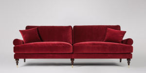 'Swoon' 'Sutton' 3-seater velvet sofa in 'rouge'