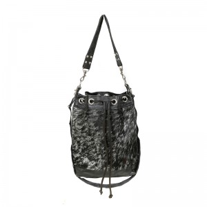 8cb6678fd5a1 Zulucow cowhide bucket bag black with white - Zulucow