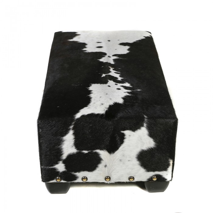 bespoke furniture, sustainable interiors, handmade furniture, cowhide otttoman, cowhide footstool, sustainable furniture, ethically made, classic style furniture, animal print, Nguni cowhide ottoman