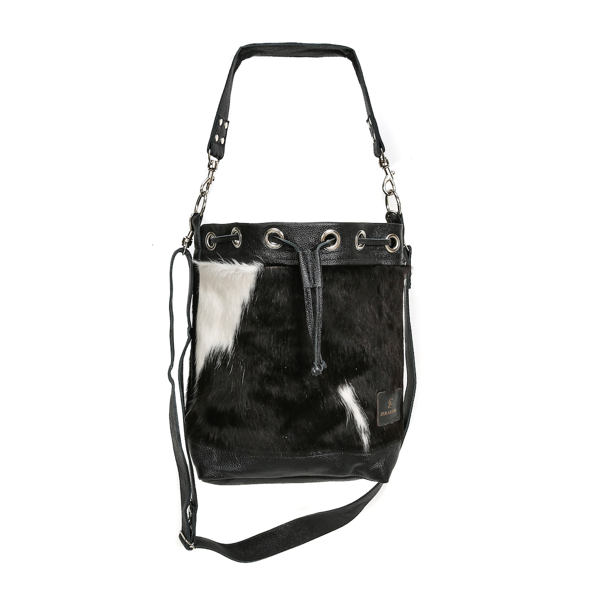 bags-leather-bucket-bags-cowhide-bags-black and white, leather bags, fashion accessories, women's accessories, sustainable leather, handmade, ethical fashion
