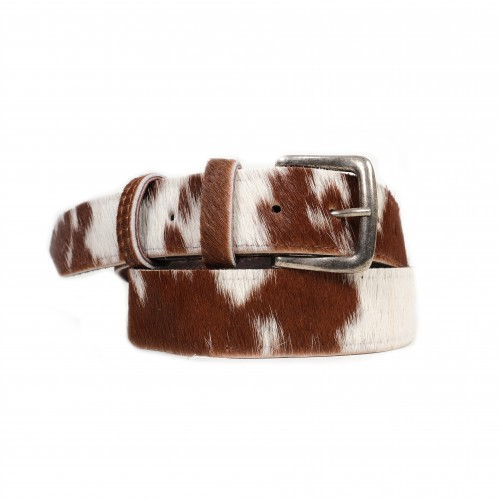 cowhide belts, brown and white belts, fashion accessories, ethically made belts, artisan-made