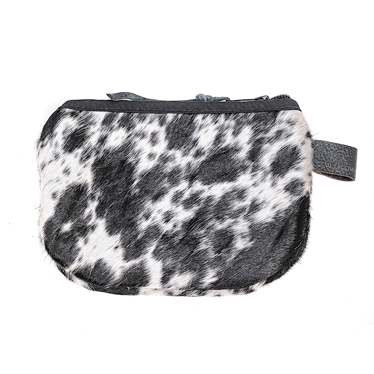 cowhide purse, black and white, accessories, sustainable, ethically-made