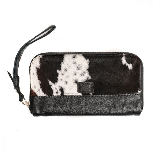 cowhide purse, wallet, clutch, leather wallet, animal print