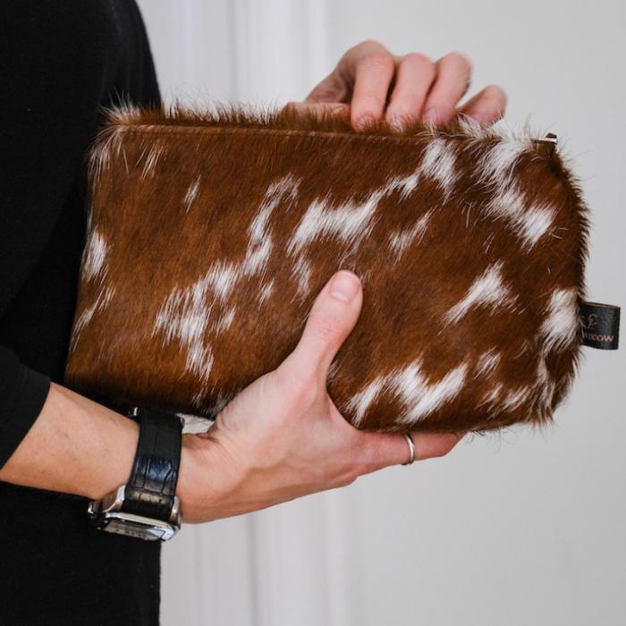 Zulucow cowhide purse, cosmetic bag, make up bag, handmade, artisan made, cowhide cosmetic bag, slow fashion, ethical fashion, sustainable style, christmas gifts, presents, leather bag