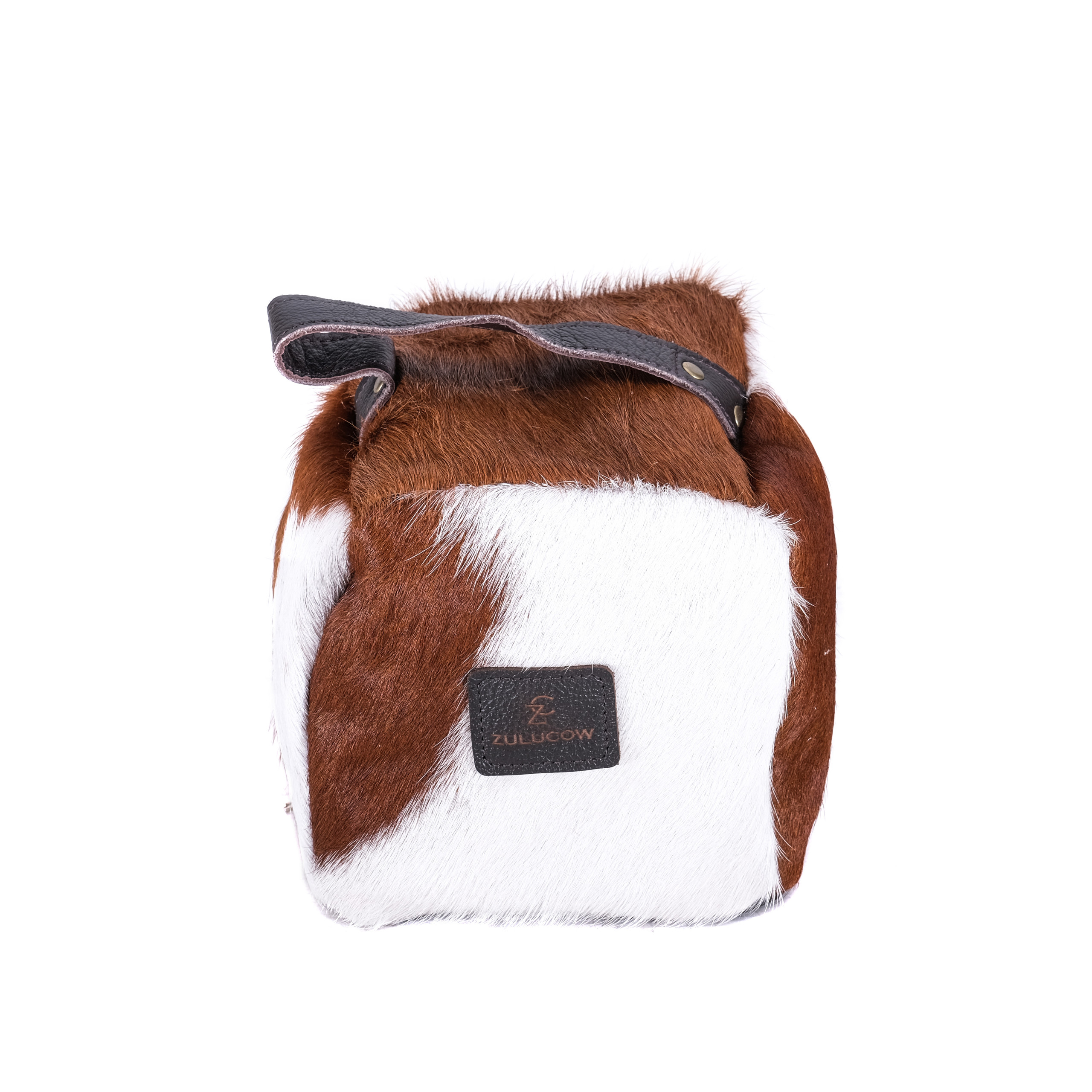 brown and white, cowhide door stop, animal print, sustainable, ethical, handmade, leather door stop