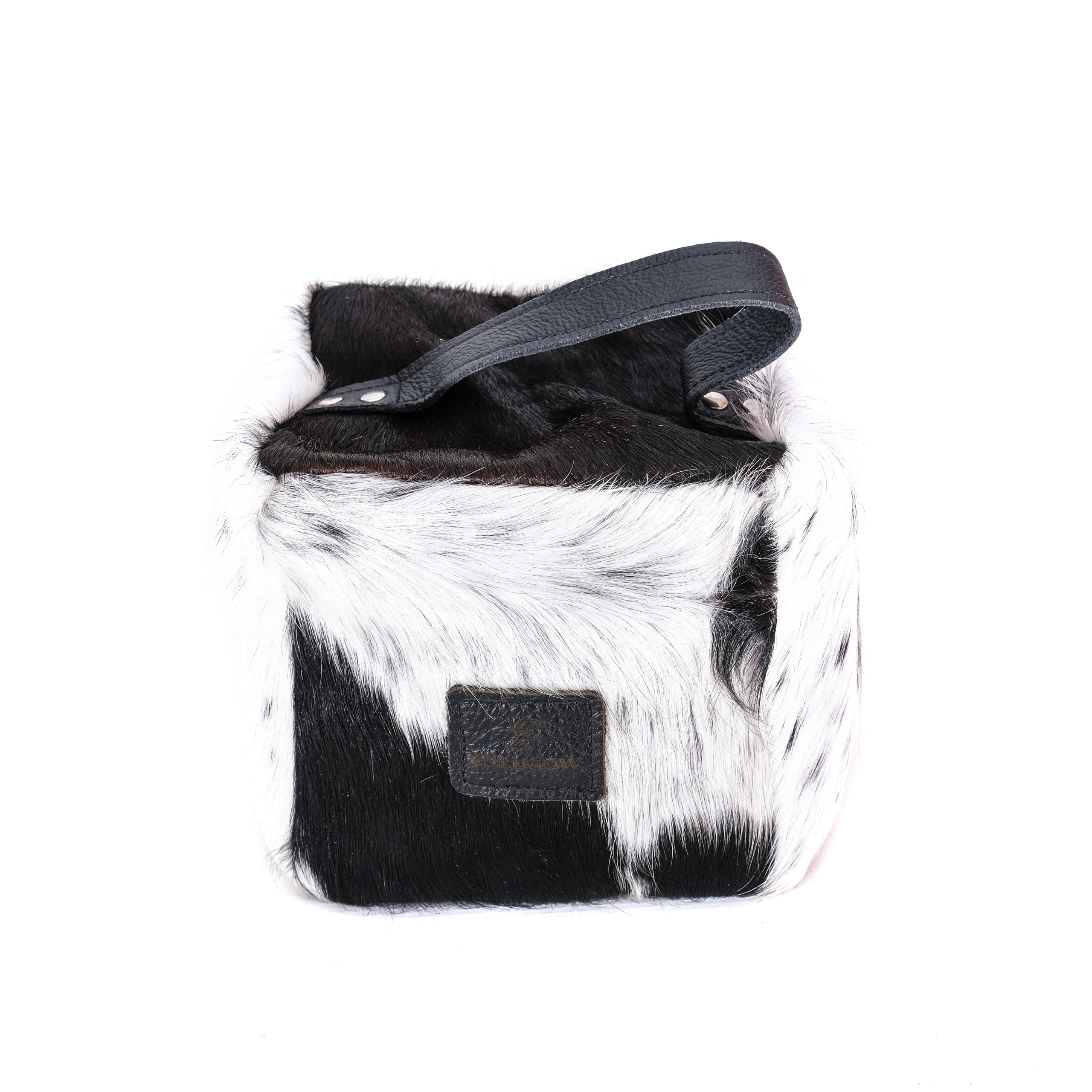 black and white, cowhide door stop, animal print, sustainable, ethical, handmade, leather door stop