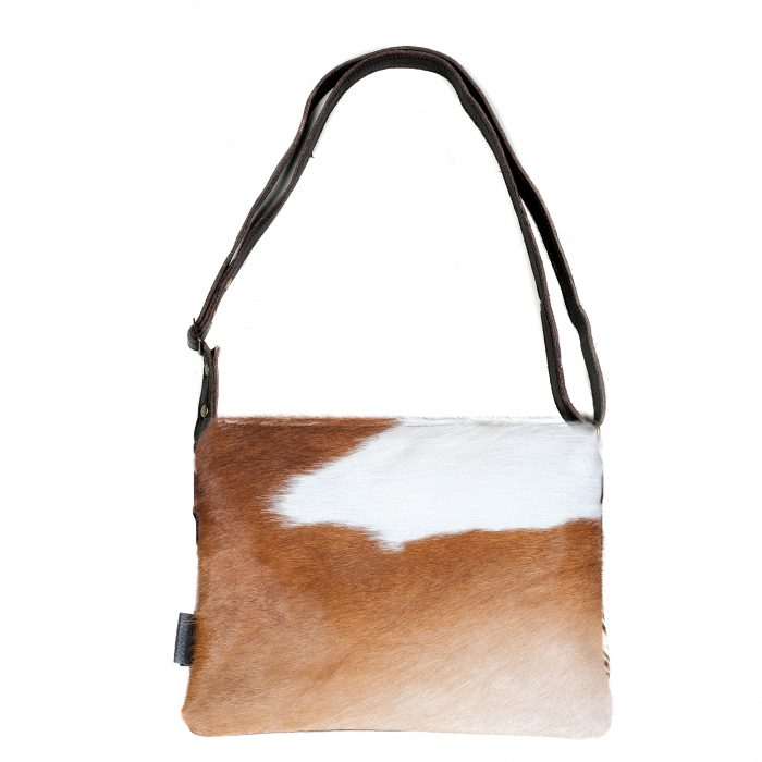 Cowhide bag, leather bag, animal print, clutch, crossbody, multi-way bag, cowhide purse, ethically made, sustainable fashion, brown and white bag, socially conscious bag