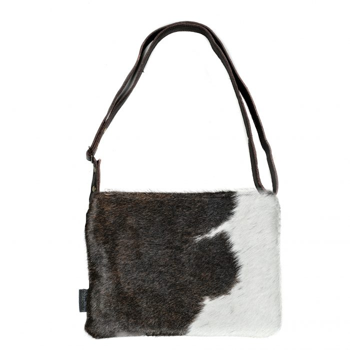 Cowhide bag, leather bag, animal print, clutch, crossbody, multi-way bag, cowhide purse, ethically made, sustainable fashion, black and white bag, socially conscious bag