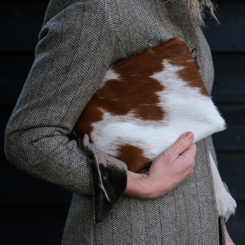 Zulucow Cowhide bag, leather bag, animal print, clutch, crossbody, multi-way bag, cowhide purse, ethically made, sustainable fashion, brown and white bag, socially conscious bag