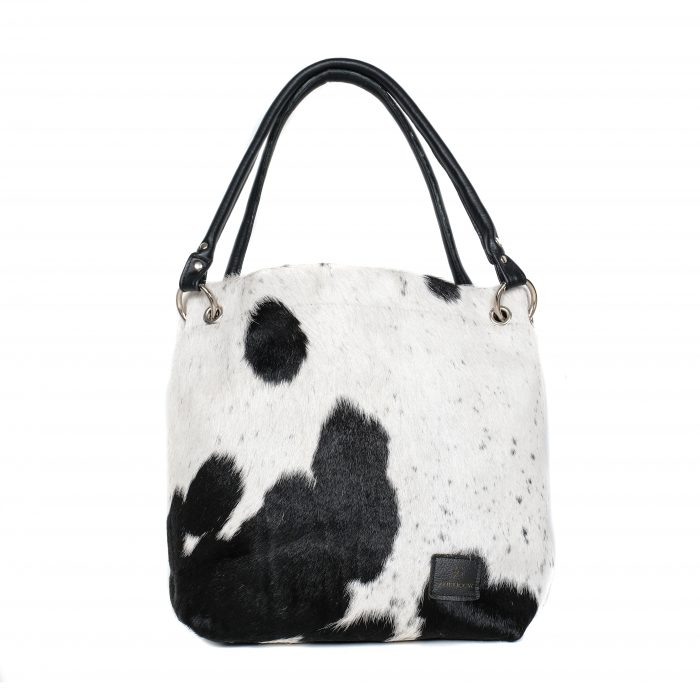 bags-leather-slouch-bags-boho bags, cowhide-bags -black and white, leather bags, fashion accessories, women's accessories, handmade bags, artisan made, socially conscious brand, sustainable fashion